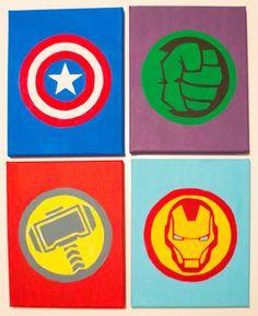 Marvel canvas, superhero canvas, superhero room, marvel paintings, disney c Avengers Symbols, The Avengers, Avengers Crafts, Avengers Actors, Avengers Humor, Avengers Costumes, Avengers Characters, Superhero Canvas, Superhero Room