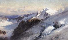 """""""The Weissmies seen from above the Lagginjoch"""" (1907) By Edward Theodore Compton (E. T. Compton), English-born German Artist and Illustrator (1849 - 1921) oil on canvas; 66 x 110.5 cm; 26 x 43 1⁄2 in Place of creation: Pennine Alps in the canton of Valais in Switzerland Private Collection"""