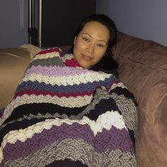 Cozy #crochetafghan that I just finished with all the leftover yarn from previous projects. #handmade #crochet #crochetaddict by lisa_valladares