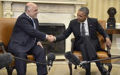 President Obama met with Iraq Prime Minister Haider Al-Abadi on his first visit to Washington. The Iraq prime minister is making his first visit to Washington in search of money and weapons. Obama Administration, Recent Events, Foreign Policy, Presidents, American, World, Cordial, Prime Minister, Islamic