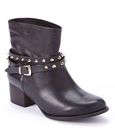 Another great find on #zulily! Black Rocker Leather Ankle Boot #zulilyfinds