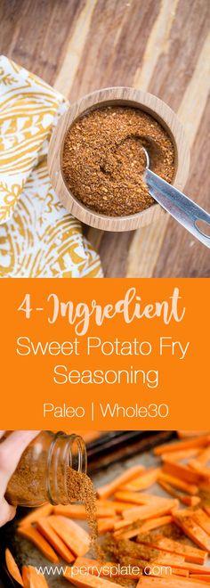 Easy Sweet Potato Fry Seasoning | sweet potato recipes | paleo recipes | Whole30 recipes | perrysplate.com