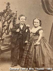 Vintage photo of General Tom Thumb and Lavinia, around 1863.