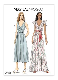 Vogue Patterns Sewing Pattern Misses' Jumpsuit Vogue Patterns, Moda Vintage, Jumpsuit Pattern, Jacket Pattern, Sewing For Beginners, Sewing Clothes, Sewing Coat, Skirt Sewing, Vintage Sewing Patterns
