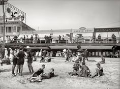 "Shorpy Historical Photo Archive :: Atlantic City, New Jersey, circa ""Boardwalk from the beach. Great Photos, Old Photos, Strand Design, Beach Boardwalk, Boardwalk Empire, Beach Design, City Beach, Ocean City, Atlantic City"