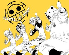 Heart Pirates - Trafalgar D. Water Law, Bepo, Penguin, and Shachi One Piece art yelow