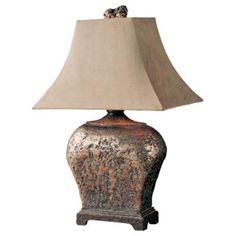 I like the base shape of this Distressed Bronze Table Lamp, but I don't like the shade. I want a more streamlined shade.