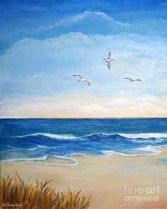 Sheila Kempf Flock Of Three - Three Birds On The Beach Painting - Flock Of Three - Three Birds On The Beach Fine Art Print