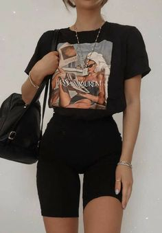 Casual Summer Outfits For Women, Cute Comfy Outfits, Stylish Outfits, Cool Outfits, Outfit Summer, Winter Outfits, Girly Outfits, All Black Trendy Outfits, Black Summer Dresses