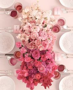 Ombre Wedding Trend. Me like tone blends. Also on this link - a cake- several layers same size, each layer graduated shade - so cool!! Just iced white on the outside. I kinda want on like that... As long as it tastes tasty!!!!