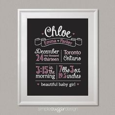 The details of your child's birth can get foggy over time, but with a stunning Chalkboard Birth Stats print, you can cherish them forever!