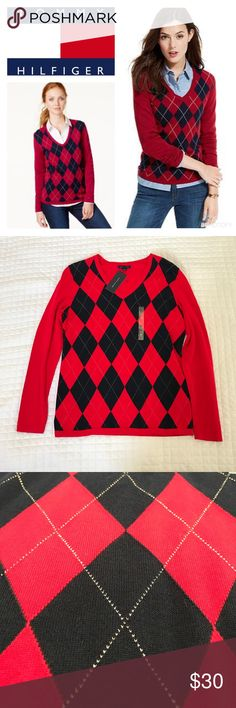 NWT Tommy Hilfiger Sparkly Argyle V-neck Sweater Brand new with tags, no defects! Beautiful red and navy blue argyle with sparkly silver lines. 100% cotton, machine wash and dry. All of my items come from a clean, smoke-free home. Check my closet for more items and save when you bundle! Please let me know if you have any questions! Tommy Hilfiger Sweaters V-Necks