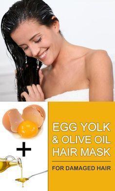 Make a homemade egg yolk and olive oil hair mask for damaged hair.