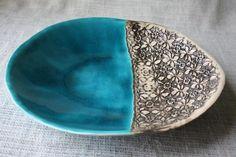 Patera ceramiczna- Turkusowa z koronką