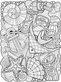Coloring for adults. Undersea world Lizenzfreies coloring for adults undersea wo… Coloring for adults. Undersea world Lizenzfreies coloring for adults undersea world stock vektor art und mehr bilder von anker Coloring Pages For Grown Ups, Summer Coloring Pages, Free Adult Coloring, Coloring Book Pages, Printable Coloring Pages, Coloring Sheets, Coloring Pages For Adults, Doodle Coloring, Mandala Coloring