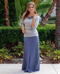 Navy & Grey Stripe Maxi Skirt  www,daisyshoppe,com