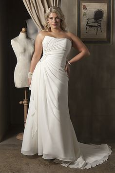 Plus size wedding dresses ....asymmetrical gather at the hip. With a symmetrical sweetheart neckline though