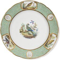 Ara vert du Brésil   Assiette plate du service «  à fond pointillé vert, oiseaux  Buffon et têtes antiques  »   Manufacture de Sèvres, vers 1784  © Les Arts Décoratifs