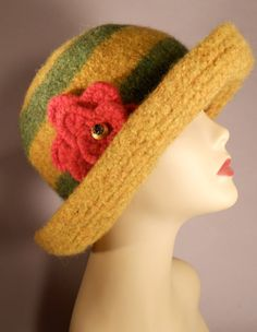Felted Striped Brim Hat by yoursbydesign on Etsy, $69.00