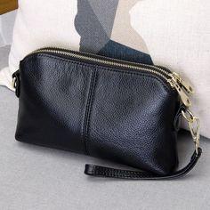 Genuine Leather High Quality Clutch bag style Fashion trend Women Handbag messenger bag Dual purpose Leisure bag Source by Bags style Soft Leather Handbags, Leather Clutch Bags, Clutch Purse, Leather Wallet, Leather Case, Leather Purses, Crossbody Clutch, Cow Leather, Cowhide Leather
