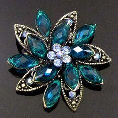 ADD'L Item FREE SHIPPING antiqued rhinestone crystal flower brooch pin bouquet | eBay