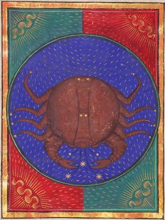 Cancer ~ Book of Hours ~ ca.1473 ~ Italy, probably Milan 1470-1480 ~ Latin and Italian ~ Artist: attributed to Venturino Mercati (fl1473-1480) ~ one of 12 full-page calendar illustrations ~ The Morgan Library & Museum