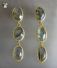 Labradorite Triple Drop Gold Plated 925 Silver Post Earrings - Bridesmaid gifts (*Amazon Partner-Link)