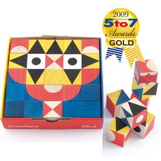 Blocks w/ geometric designs make many different 'pictures'. I'm sure I cld paint some wood blocks and make a set like this for $10.