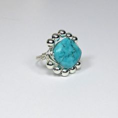 DWJ Genuine Howlite Turquoise Silver Wire Wrapped Ring SZ 6-10