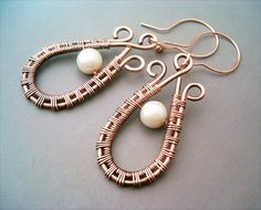 Wire Wrapped Earrings Hammered Copper - Handmade Copper Earrings - Copper Jewelry