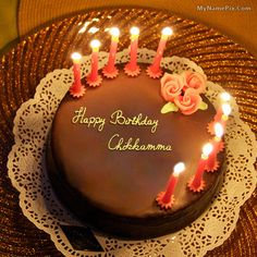 The Name Chikkamma Is Generated On Birthday Cake For Husband With Image