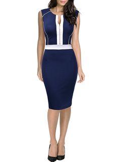 MIUSOL Women's Christmas Round Collar Contrast Casual Blue Dress Medium/UK 10: Amazon.co.uk: Clothing