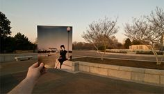Inspired by Michael Hughes' Souvenirs project, the artist superimposed old photographs onto the modern day locations.