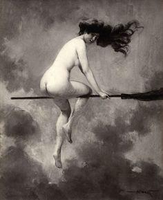 Le Sabbat des Sorcières | Les sorcières se rendent au sabbat, dans des lieux secrets et déserts, de différentes manières. Pendant les nuits d'orage et de grand vent, elles se transportent dans les airs sur un âne, un cheval ou un autre animal. Cependant, elles préfèrent chevaucher un balai oint d'un onguent diabolique... zimzimcarillon.canalblog.com | Départ pour le Sabbat - Albert Joseph Pénot, 1910.