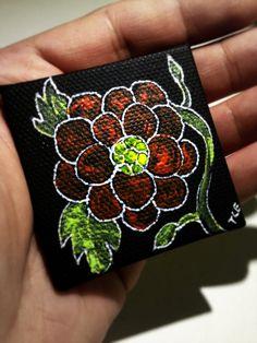 Magnet With Original Poppy Orange Flower Art