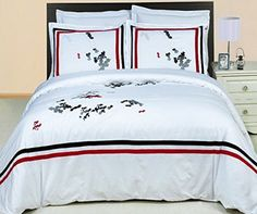 Modern Hotel White Black Red Embroidered Egyptian Cotton 3 piece Bedding Duvet Comforter Cover and Shams Set - 5 stars Hotel luxury bedding set for an awesome Hotel style look in your bedroom.