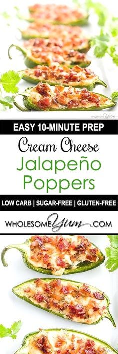 Cream Cheese Jalapeno Poppers with Bacon (Low Carb, Gluten-Free) - These easy cream cheese jalapeno poppers with bacon are super easy to make with just 7 ingredients you probably have right now! Naturally low carb and gluten-free.
