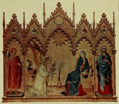 LIPPO MEMMI SIENESE SCHOOL TRIPTYCH THE ANNUNCIATION WITH SS ANSANUS AND JULIET