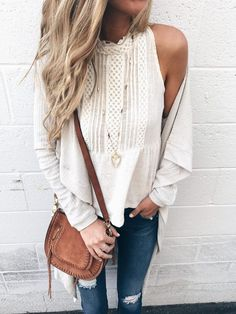 Fall capsule wardrobe - white halter and long thermal cardigan Fall outfit on PinterestingPlans
