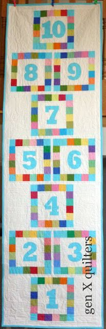 Gen X Quilters: Hopscotch Quilt: CMQG Kona Challenge - I want to make this with a gray background!