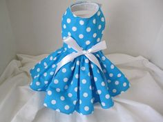 Dog Dress XS Blue  With White Polka Dots  By by NinasCoutureCloset, $20.00