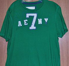 American Eagle Men's Green No77 AE7NY Vintage Look Short Sleeve Shirt Size Lg