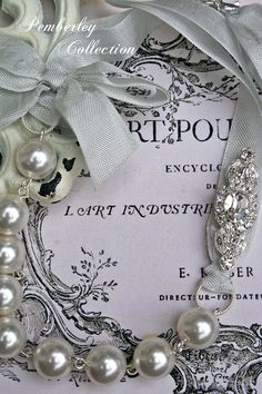 Pearl and Ribbon Necklace Swarovski by PemberleyCollection on Etsy, $34.00