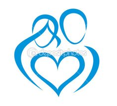 Family, love symbol, stylized in simple lines More