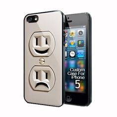 Funny Cute sad and Smile Electricity Plug in iphone 5 black/white case