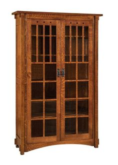 Amish Dynasty Mission Bookcase Solid wood mission furniture for office or library. Unique mullion detail. Choose wood, finish, hardware, glass and height.