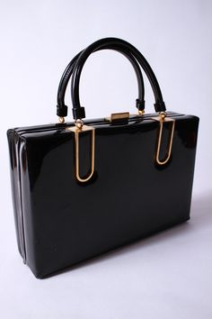 efc9185958 Vintage 1950s Black Patent Leather Handbag Attache Style