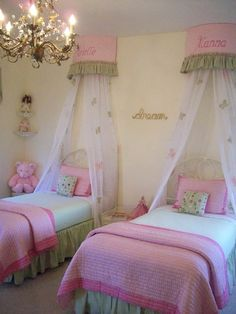 Little Girls Rooms Design - what could be better than pink and green princess beds and a chandelier? (Link goes to houzz.com for more Pictures, Remodel, Decor and Ideas.)