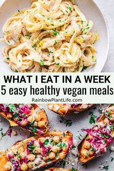 5 easy vegan recipes you can make for any weekday. They are quick to make and comforting. food recipe meals What I Eat in a Week: 5 easy healthy vegan meals Easy Healthy Recipes, Whole Food Recipes, Easy Meals, Cooking Recipes, Healthy Meals, Vegan Recipes Easy Healthy, Dip Recipes, Potato Recipes, Vegetable Recipes