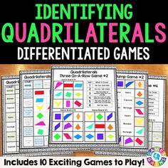 This Quadrilaterals Games Pack contains 10 different games (6 bump games and 4 three-in-a-row games) to help students practice identifying and classifying quadrilaterals. Within these quadrilaterals games, students practice matching the names of different types of quadrilaterals to images and to specific characteristics. These quadrilaterals games are so simple to use, and take a minimal amount of prep.